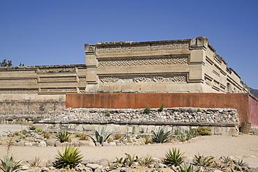 Walls of mosaic fretwork and geometric designs, Mitla Archaeological Site, San Pablo de Mitla, Oaxaca, Mexico, North America