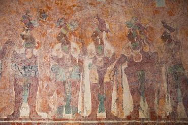 Murals, Room 1, Building 1, Mayan Archaeological Site, Bonampak, Chiapas, Mexico, North America