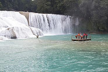 Churning cascades and tourists on raft, Rio Tulija, Parque Nacional de Agua Azul, near Palenque, Chiapas, Mexico, North America