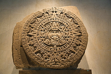 Aztec calendar stone, National Museum of Anthropology, Mexico City, Mexico, North America