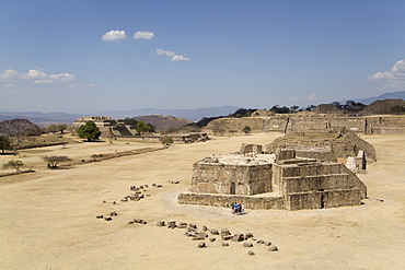 Plaza Principal, view from the Southern Platform, Buiding J, Observatory in the foreground, Monte Alban, UNESCO World Heritage Site, Oaxaca, Mexico, North America