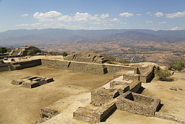 Sunken Patio in foreground with Building Group IV in background left, Monte Alban, UNESCO World Heritage Site, Oaxaca, Mexico, North America