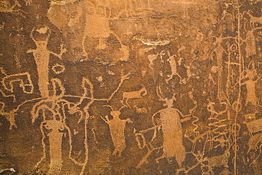 Rochester Petroglyph Panel, contains both Barrier Canyon style and Fremont style elements, near Emery, Utah, United States of America, North America
