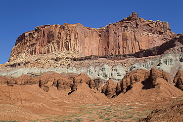 A Waterpocket Fold highlighting the erosion of tilted rock layers, formed 50 to 70 million years ago, Capitol Reef National Park, Utah, United States of America, North America