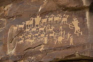The Great Hunt Panel, Fremont style petroglyphs from AD 700 to AD 1200, Cottonwood Canyon near the junction of Nine Mile Canyon, Utah, United States of America, North America