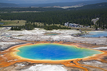 Grand Prismatic Spring, Midway Geyser Basin, Yellowstone National Park, UNESCO World Heritage Site, Wyoming, United States of America, North America