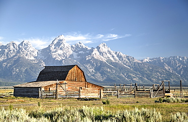 USA, Wyoming, Grand Teton National Park, Mormon Row, dates from 1890's, John Moulton Homestead, Barn
