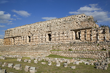 Stone Glyphs in front of the Palace of Masks, Kabah Archaeological Site, Yucatan, Mexico, North America
