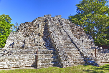 Temple I, Chaccoben, Mayan archaeological site, 110 miles south of Tulum, Classic Period, Quintana Roo, Mexico, North America