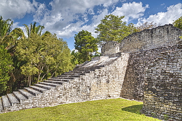 Stairway to the Acropolis, Kohunlich, Mayan archaeological site, Quintana Roo, Mexico, North America
