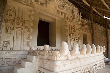 Stucco sculpture, Monster Mouth, The Tomb of Ukit Kan Lek Tok (Mayan Ruler), The Acropolis, Ek Balam, Mayan archaeological site, Yucatan, Mexico, North America