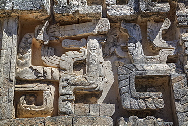 Stone carvings, Structure II, Hochob, Mayan archaeological site, Chenes style, Campeche, Mexico, North America