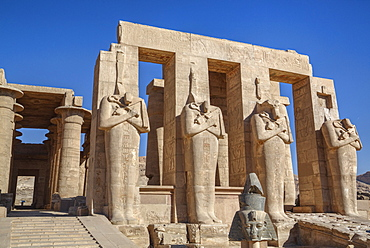 Four statues of Osiris, Hypostyle Hall, The Ramesseum (Mortuary Temple of Ramese II), Luxor, West Bank, Thebes, UNESCO World Heritage Site, Egypt, North Africa, Africa
