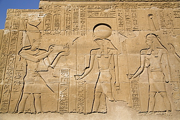 Bas-reliefs on walls, Temple of Haroeris and Sobek, Kom Ombo, Egypt, North Africa, Africa