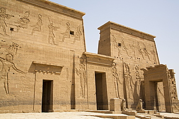 Second Pylon from the Forecourt, Temple of Isis, Island of Philae, UNESCO World Heritage Site, Aswan, Egypt, North Africa, Africa