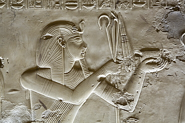 Bas-relief of Pharaoh Seti I, Temple of Seti I, Abydos, Egypt, North Africa, Africa