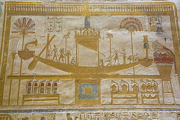 Bas-relief of Sacred Barque Boat, Temple of Seti I, Abydos, Egypt, North Africa, Africa