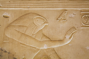 Bas-relief of the God Horus, Temple of Seti I, Abydos, Egypt, North Africa, Africa