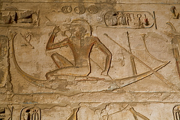 Bas-reliefs, Medinet Habu (Mortuary Temple of Ramses III), West Bank, Luxor, Thebes, UNESCO World Heritage Site, Egypt, North Africa, Africa