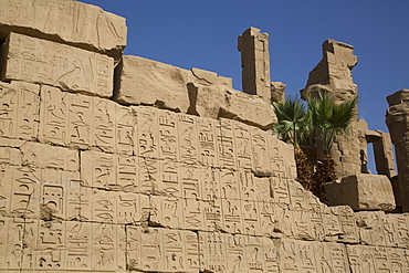 Hierogylphics on wall opposite Cachette Court, Karnak Temple, Luxor, Thebes, UNESCO World Heritage Site, Egypt, North Africa, Africa