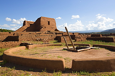 Pueblo Mission in background), Kiva in foreground, Pecos National Historic Park, New Mexico, United States of America, North America