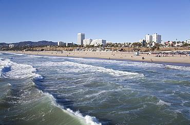 Waves at Santa Monica State Beach, Santa Monica, California, United States of America, North America