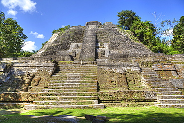 Stucco mask (lower left), The High Temple, Lamanai Mayan Site, Belize, Central America
