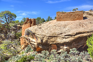 Ruins of Ancestral Puebloans, dating from between 900 AD and 1200 AD, Holly Group, Hovenweep National Monument, Utah, United States of America, North America
