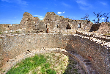 Open Kiva in West Ruins, Aztec Ruins National Monument, dating from between 850 AD and 1100 AD, UNESCO World Heritage Site, New Mexico, United States of America, North America