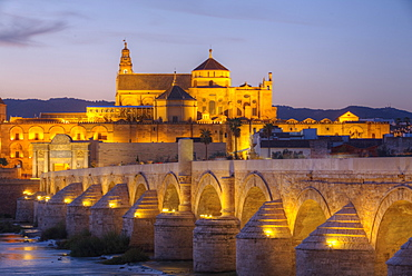 Roman Bridge in foreground and The Great Mosque (Mesquita) and Cathedral of Cordoba in the background, UNESCO World Heritage Site, Cordoba, Andalucia, Spain, Europe