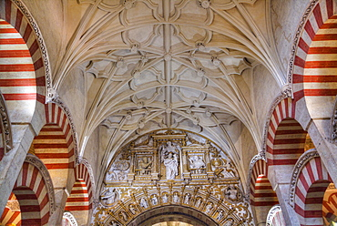 Horseshoe Arch in the Choir, The Great Mosque (Mesquita) and Cathedral of Cordoba, UNESCO World Heritage Site, Cordoba, Andalucia, Spain, Europe
