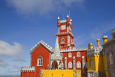 Chapel in foreground and clocktower in background, Penna National Palace, Sintra, UNESCO World Heritage Site, Portugal, Europe