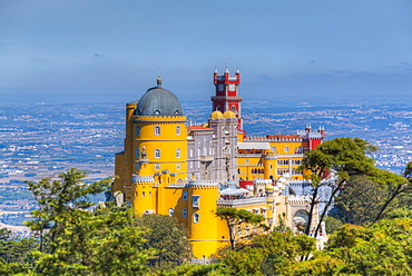Overview, taken from High Cross Area, Penna National Palace, Sintra, UNESCO World Heritage Site, Portugal, Europe