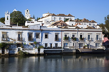 Historic buildings along the Gilao River, Tavira, Alagarve, Portugal, Europe