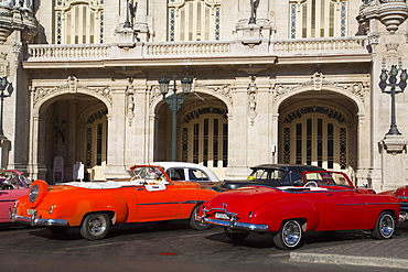 Vintage cars in front of Grand Theater, Centro Habana, Havana, Cuba, West Indies, Central America