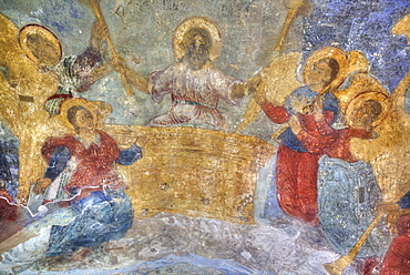 Interior fresco paintings, Cathedral of Our Lady of the Sign, Veliky Novgorod, Novgorod Oblast, Russia, Europe