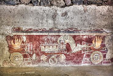 Wall Mural of the Healing Hands, Palace of Tetitla, Teotihuacan Archaeological Zone, UNESCO World Heritage Site, State of Mexico, Mexico, North America