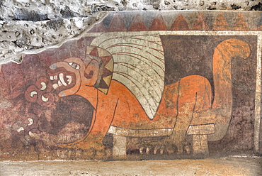 Wall Mural of Jaguar, Palace of Tetitla, Teotihuacan Archaeological Zone, UNESCO World Heritage Site, State of Mexico, Mexico, North America