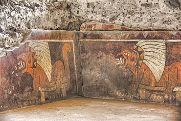 Wall Mural of Jaguars, Palace of Tetitla, Teotihuacan Archaeological Zone, UNESCO World Heritage Site, State of Mexico, Mexico, North America