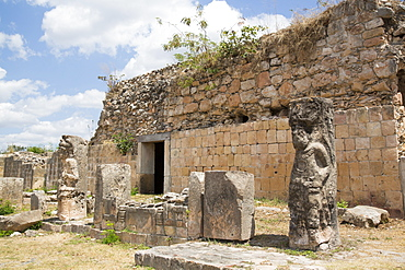 Mayan Ruins, The Palace with Statues, Oxkintok Archaeological Zone, 300 to 1050 AD, Yucatan, Mexico, North America