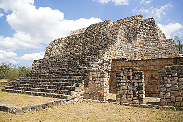 Mayan Ruins, Structure of the Canul Group, Oxkintok Archaeological Zone, 300 to 1050 AD, Yucatan, Mexico, North America