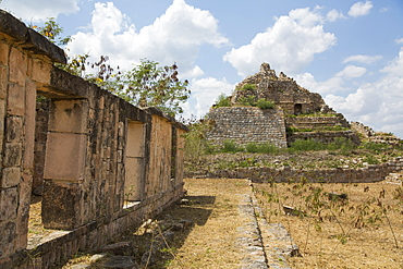 Mayan Ruins, Structure MA-9 in background, Oxkintok Archaeological Zone, 300 to 1050 AD, Yucatan, Mexico, North America