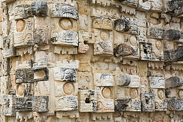 Palace of the Masks (Codz Poop), Kabah Archaeological Site, Mayan Ruins, Puuc style, Yucatan, Mexico, North America