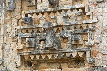Chac Rain God Stone Mask, Palace, Xlapak Archaeological Site, Mayan Ruins, Puuc style, Yucatan, Mexico, North America