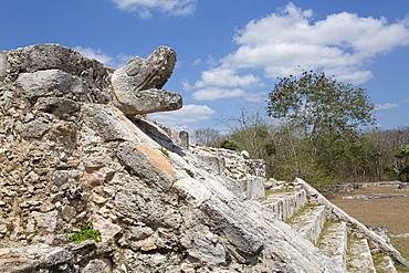 Serpent Head, Temple of Warriors, Mayan Ruins, Mayapan Archaeological Site, Yucatan, Mexico, North America