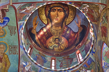 Frescoes, Holy Dormition Cathedral, The Holy Trinity Saint Sergius Lavra, UNESCO World Heritage Site, Sergiev Posad, Russia, Europe
