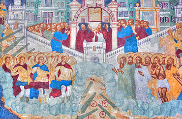 Frescoes, Feodorovsky Cathedral, UNESCO World Heritage Site, Yaroslavl, Golden Ring, Yaroslavl Oblast, Russia