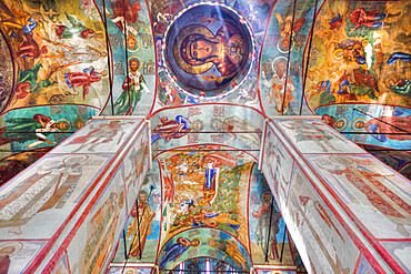 Frescoes, Holy Dormition Cathedral, The Holy Trinity St Sergius Lavra, Sergiev Posad, Golden Ring, Moscow Oblast, Russia