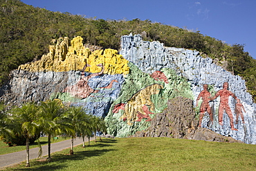 Mural of Prehistory, Vinales Valley, UNESCO World Heritage Site, Cuba, West Indies, Caribbean, Central America