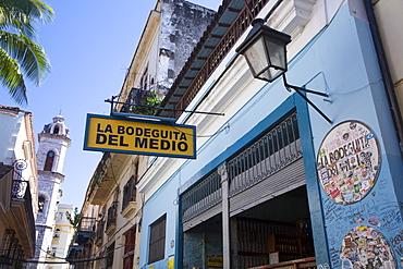 Sign, La Bodeguita del Medio Restuarant and Bar, Old Town, UNESCO World Heritage Site, Havana, Cuba, West Indies, Caribbean, Central America